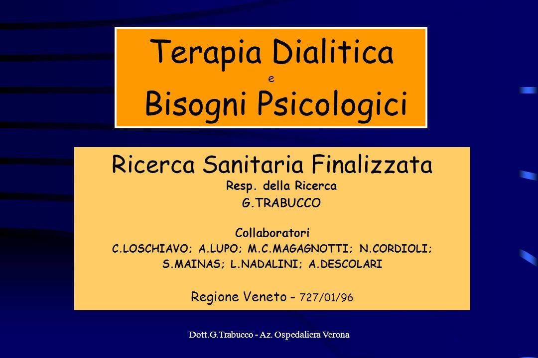 Terapia Dialitica e Bisogni Psicologici Ricerca Sanitaria Finalizzata Resp. della Ricerca G.TRABUCCO Collaboratori C.LOSCHIAVO; A.LUPO; M.C.MAGAGNOTTI