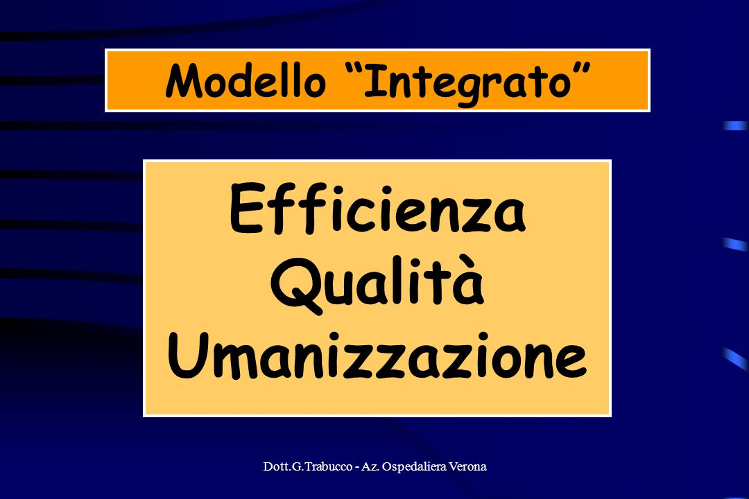 Dott.G.Trabucco - Az. Ospedaliera Verona Modello Integrato Efficienza Qualità Umanizzazione
