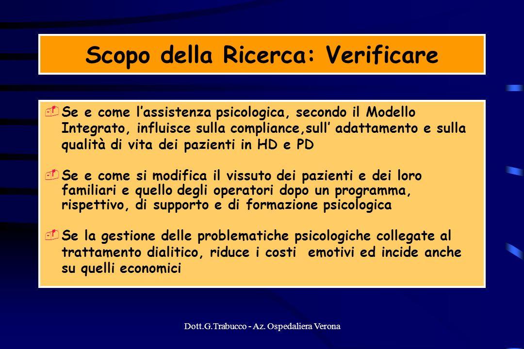 Dott.G.Trabucco - Az. Ospedaliera Verona Scopo della Ricerca: Verificare Se e come lassistenza psicologica, secondo il Modello Integrato, influisce su