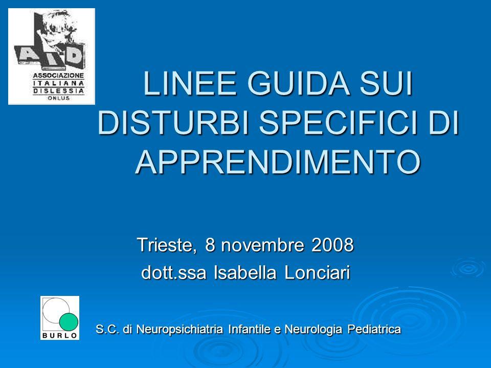 LINEE GUIDA SUI DISTURBI SPECIFICI DI APPRENDIMENTO S.C.