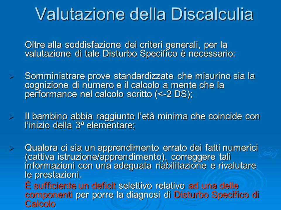 Valutazione della Discalculia Valutazione della Discalculia Oltre alla soddisfazione dei criteri generali, per la valutazione di tale Disturbo Specifico è necessario: Somministrare prove standardizzate che misurino sia la cognizione di numero e il calcolo a mente che la performance nel calcolo scritto (<-2 DS); Somministrare prove standardizzate che misurino sia la cognizione di numero e il calcolo a mente che la performance nel calcolo scritto (<-2 DS); Il bambino abbia raggiunto letà minima che coincide con linizio della 3ª elementare; Il bambino abbia raggiunto letà minima che coincide con linizio della 3ª elementare; Qualora ci sia un apprendimento errato dei fatti numerici (cattiva istruzione/apprendimento), correggere tali informazioni con una adeguata riabilitazione e rivalutare le prestazioni.