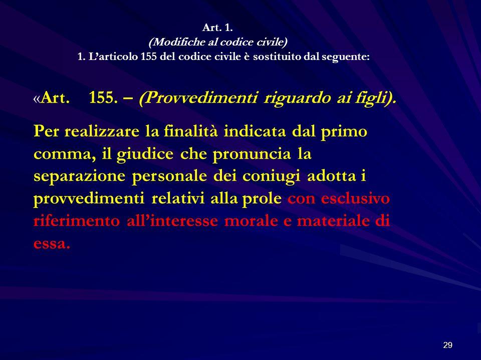 29 Art. 1. (Modifiche al codice civile) 1. Larticolo 155 del codice civile è sostituito dal seguente: «Art. 155. – (Provvedimenti riguardo ai figli).