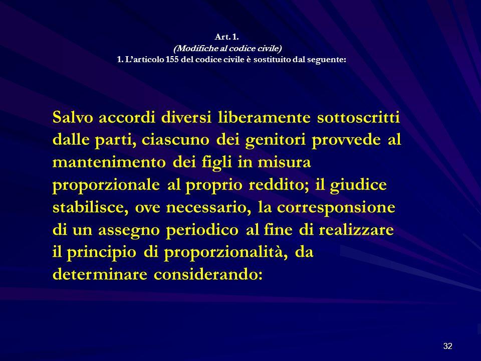 32 Art. 1. (Modifiche al codice civile) 1. Larticolo 155 del codice civile è sostituito dal seguente: Salvo accordi diversi liberamente sottoscritti d