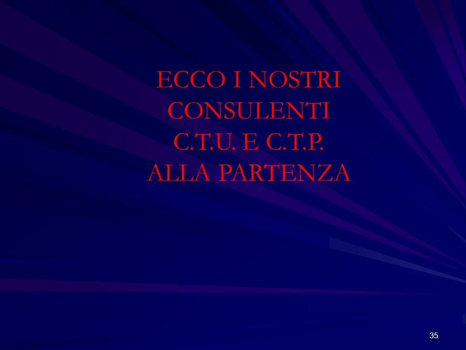 35 ECCO I NOSTRI CONSULENTI C.T.U. E C.T.P. ALLA PARTENZA