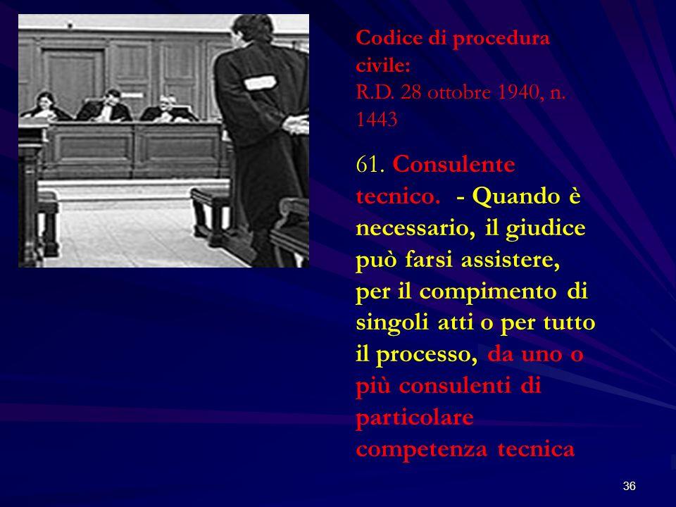 36 Codice di procedura civile: R.D. 28 ottobre 1940, n. 1443 61. Consulente tecnico. - Quando è necessario, il giudice può farsi assistere, per il com