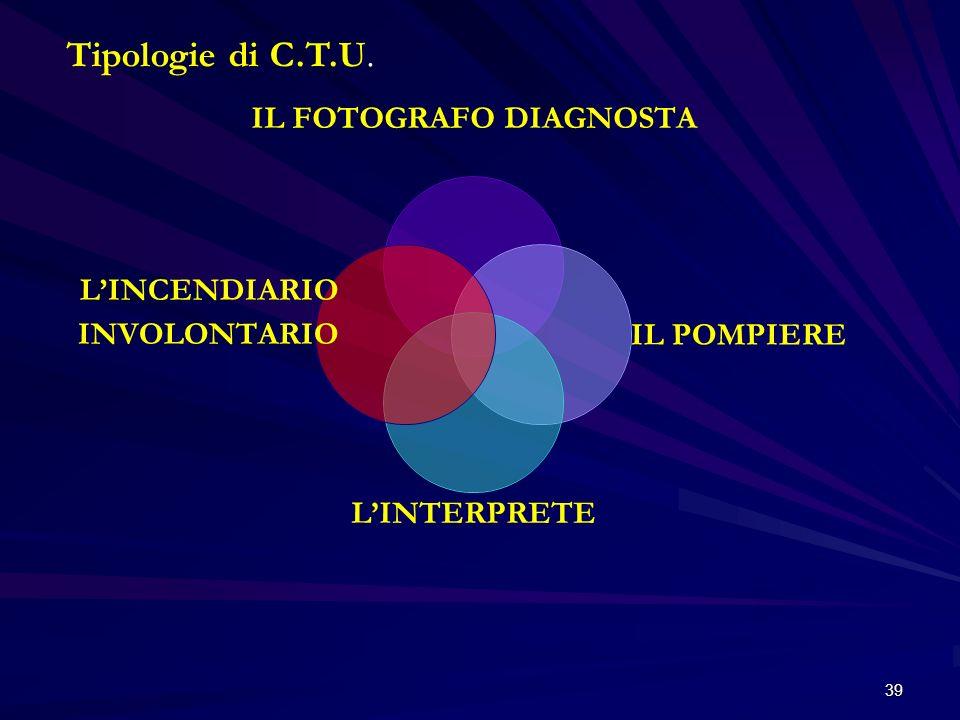 39 Tipologie di C.T.U. IL FOTOGRAFO DIAGNOSTA IL POMPIERE LINTERPRETE LINCENDIARIO INVOLONTARIO
