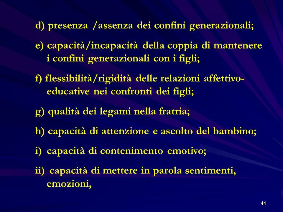 44 d) presenza /assenza dei confini generazionali; e) capacità/incapacità della coppia di mantenere i confini generazionali con i figli; f) flessibili