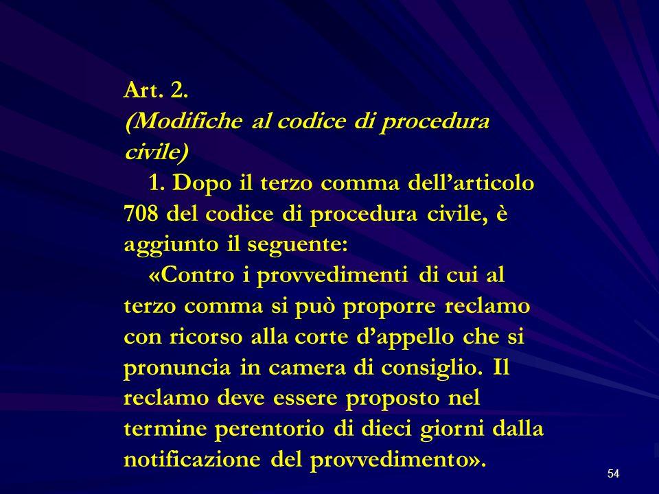 54 Art. 2. (Modifiche al codice di procedura civile) 1. Dopo il terzo comma dellarticolo 708 del codice di procedura civile, è aggiunto il seguente: «