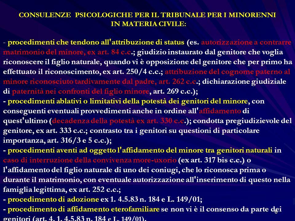 6 CONSULENZE PSICOLOGICHE PER IL TRIBUNALE PER I MINORENNI IN MATERIA CIVILE: - procedimenti che tendono all'attribuzione di status (es. autorizzazion