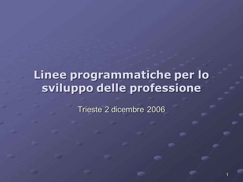 1 Linee programmatiche per lo sviluppo delle professione Trieste 2 dicembre 2006