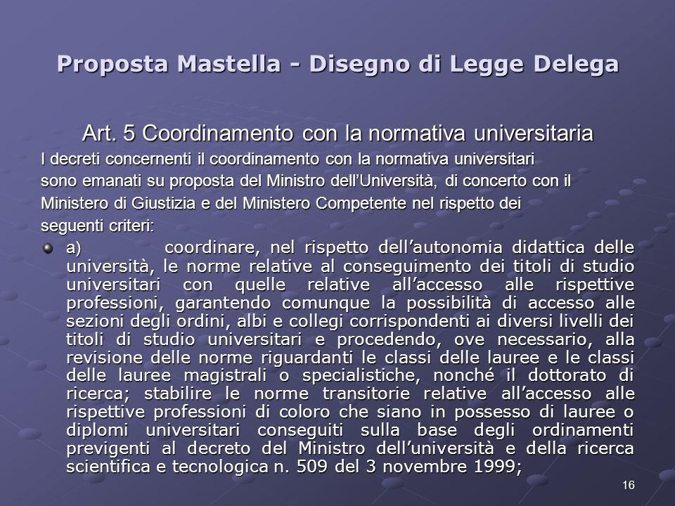 16 Proposta Mastella - Disegno di Legge Delega Art. 5 Coordinamento con la normativa universitaria I decreti concernenti il coordinamento con la norma