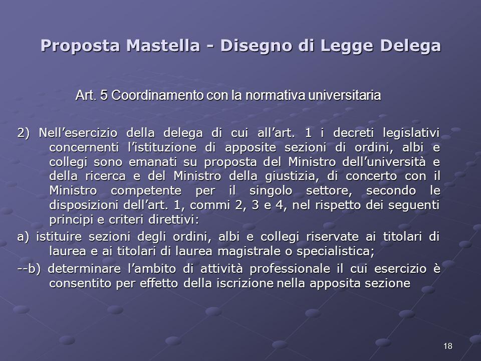 18 Proposta Mastella - Disegno di Legge Delega Art. 5 Coordinamento con la normativa universitaria 2) Nellesercizio della delega di cui allart. 1 i de
