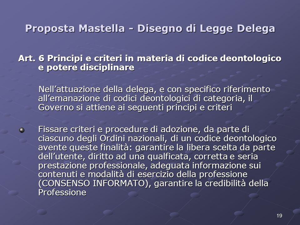 19 Proposta Mastella - Disegno di Legge Delega Art. 6 Principi e criteri in materia di codice deontologico e potere disciplinare Nellattuazione della