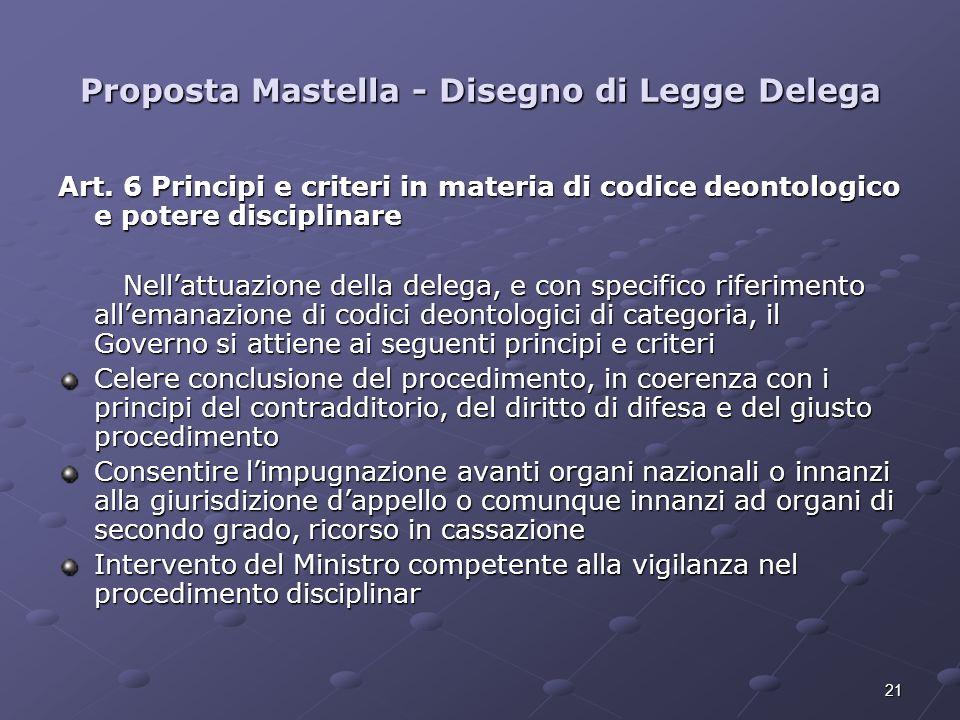 21 Proposta Mastella - Disegno di Legge Delega Art. 6 Principi e criteri in materia di codice deontologico e potere disciplinare Nellattuazione della