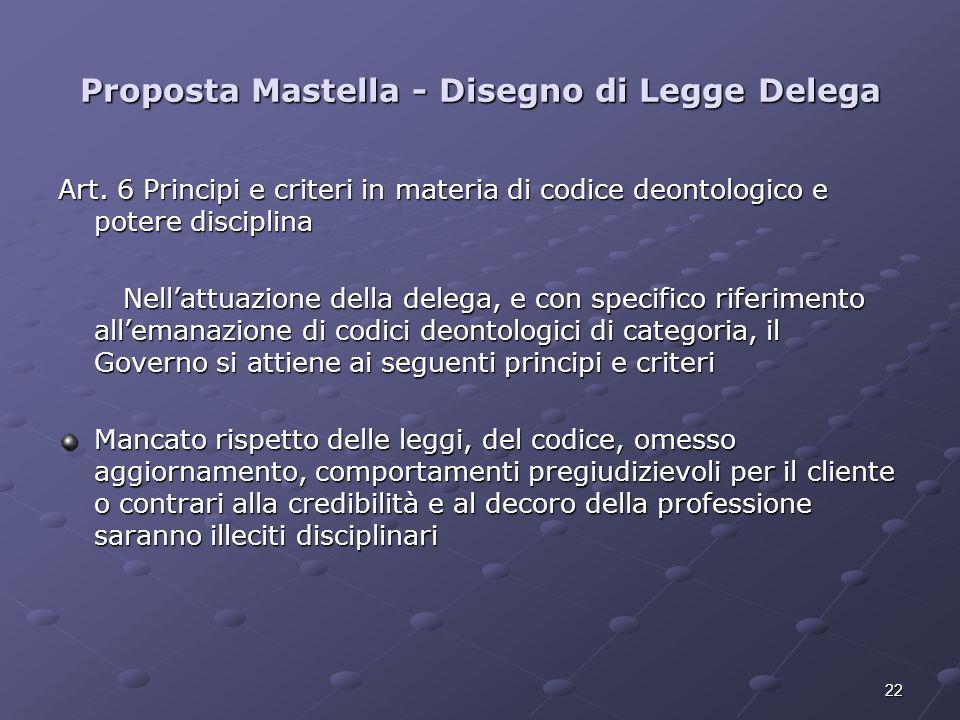 22 Proposta Mastella - Disegno di Legge Delega Art. 6 Principi e criteri in materia di codice deontologico e potere disciplina Nellattuazione della de