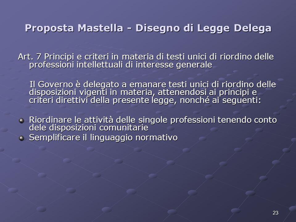23 Proposta Mastella - Disegno di Legge Delega Art. 7 Principi e criteri in materia di testi unici di riordino delle professioni intellettuali di inte