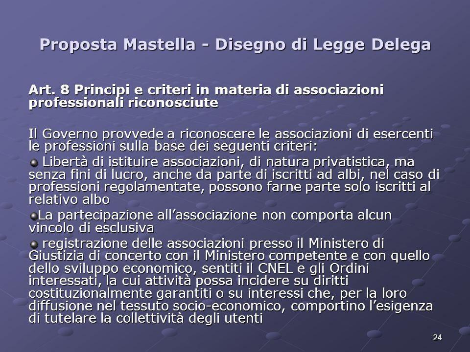 24 Proposta Mastella - Disegno di Legge Delega Art. 8 Principi e criteri in materia di associazioni professionali riconosciute Il Governo provvede a r
