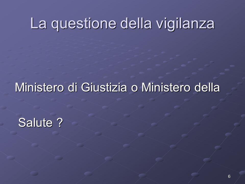 6 La questione della vigilanza Ministero di Giustizia o Ministero della Salute ? Salute ?