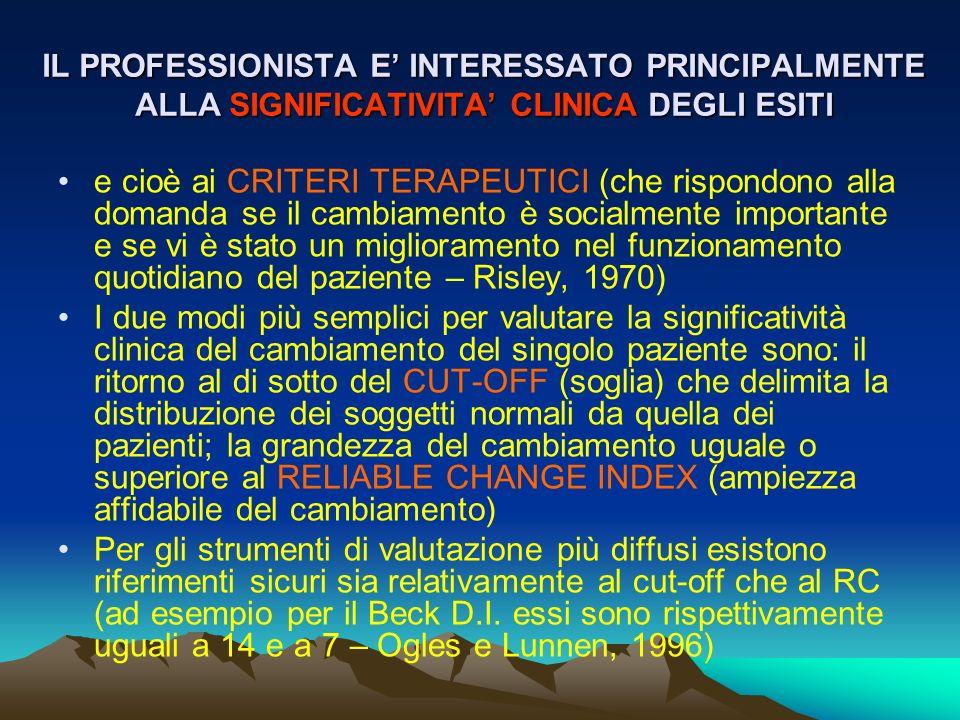 IL PROFESSIONISTA E INTERESSATO PRINCIPALMENTE ALLA SIGNIFICATIVITA CLINICA DEGLI ESITI e cioè ai CRITERI TERAPEUTICI (che rispondono alla domanda se