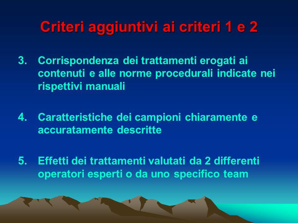 Criteri aggiuntivi ai criteri 1 e 2 3. Corrispondenza dei trattamenti erogati ai contenuti e alle norme procedurali indicate nei rispettivi manuali 4.