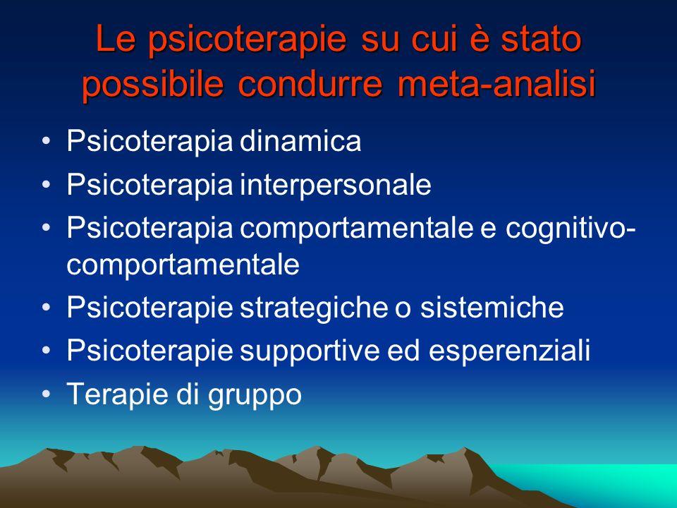 Le psicoterapie su cui è stato possibile condurre meta-analisi Psicoterapia dinamica Psicoterapia interpersonale Psicoterapia comportamentale e cognit
