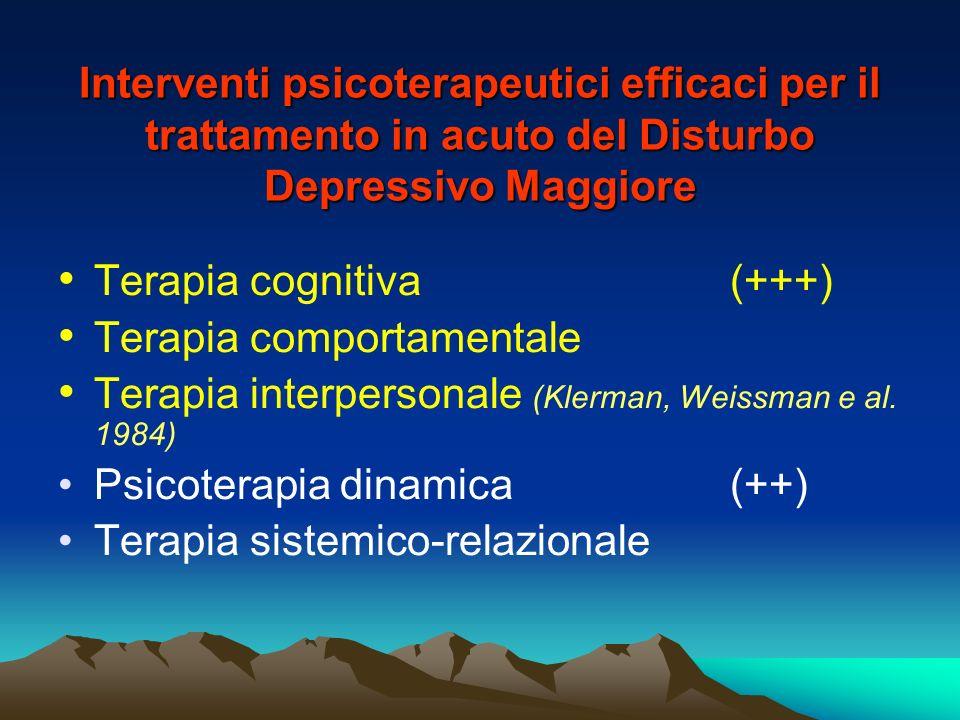 Interventi psicoterapeutici efficaci per il trattamento in acuto del Disturbo Depressivo Maggiore Terapia cognitiva (+++) Terapia comportamentale Tera