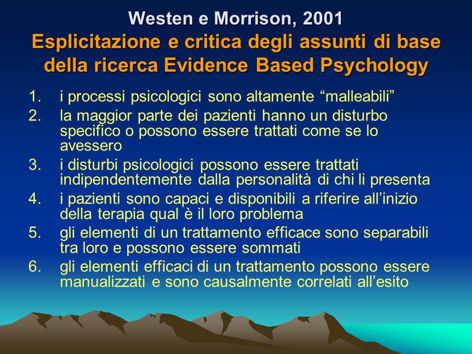 Westen e Morrison, 2001 Esplicitazione e critica degli assunti di base della ricerca Evidence Based Psychology 1.i processi psicologici sono altamente