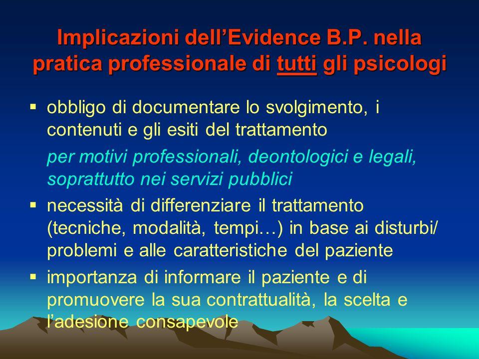 Implicazioni dellEvidence B.P. nella pratica professionale di tutti gli psicologi obbligo di documentare lo svolgimento, i contenuti e gli esiti del t