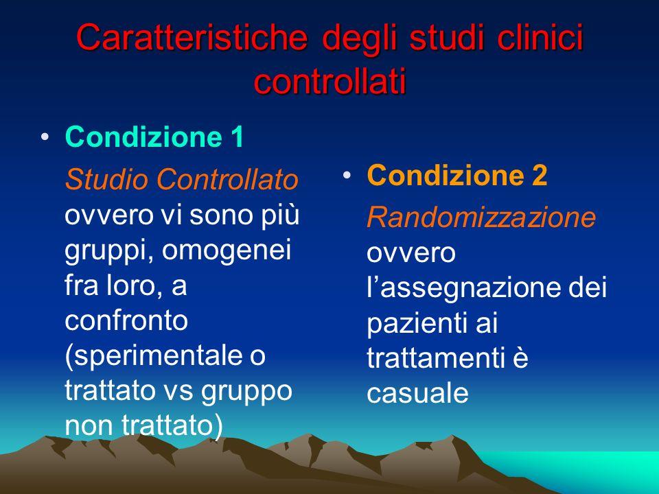 Caratteristiche degli studi clinici controllati Condizione 1 Studio Controllato ovvero vi sono più gruppi, omogenei fra loro, a confronto (sperimental
