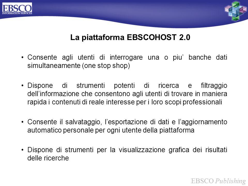 EBSCO Publishing La piattaforma EBSCOHOST 2.0 Consente agli utenti di interrogare una o piu banche dati simultaneamente (one stop shop) Dispone di str