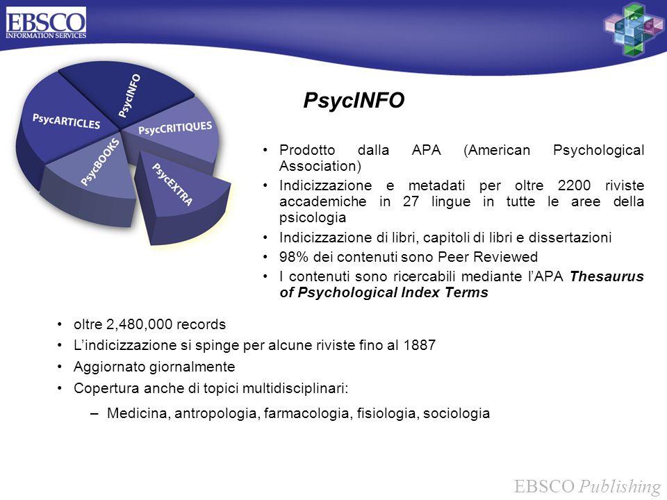 EBSCO Publishing PsycINFO Prodotto dalla APA (American Psychological Association) Indicizzazione e metadati per oltre 2200 riviste accademiche in 27 l