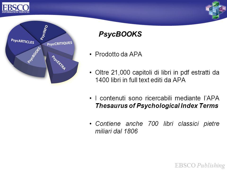 EBSCO Publishing PsycBOOKS Prodotto da APA Oltre 21,000 capitoli di libri in pdf estratti da 1400 libri in full text editi da APA I contenuti sono ric