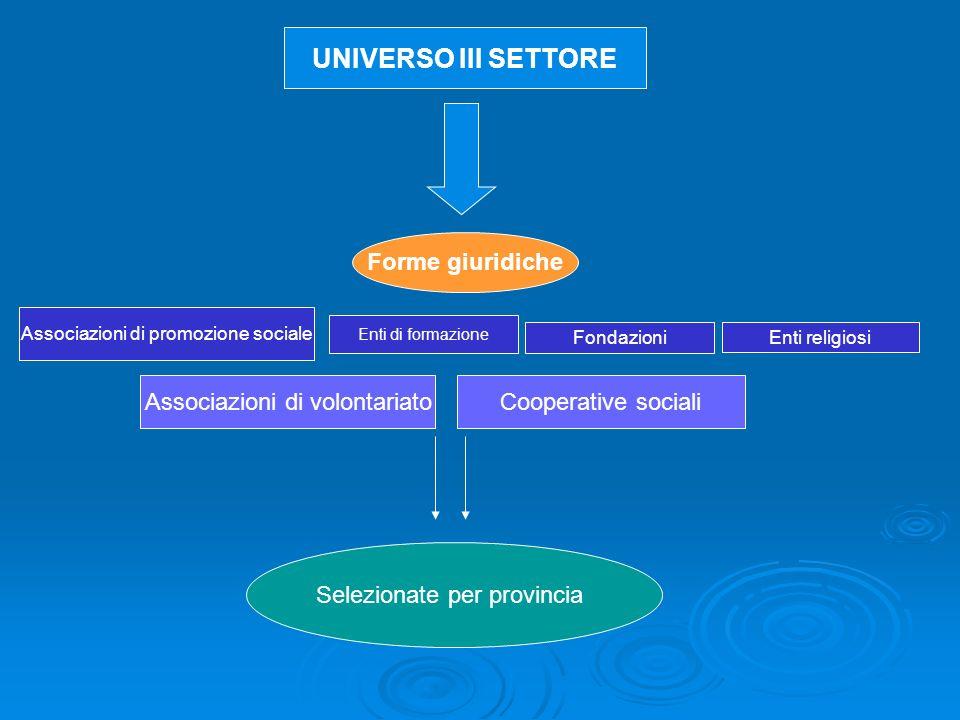 Forme giuridiche UNIVERSO III SETTORE Associazioni di volontariato Cooperative sociali Enti di formazione Associazioni di promozione sociale Enti religiosi Fondazioni Selezionate per provincia