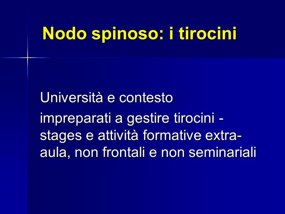 Nodo spinoso: i tirocini Università e contesto impreparati a gestire tirocini - stages e attività formative extra- aula, non frontali e non seminariali
