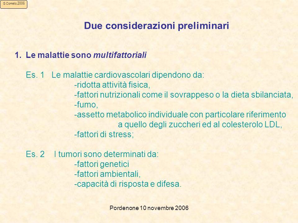 Pordenone 10 novembre 2006 G.Cornelio 2006 Due considerazioni preliminari 1.Le malattie sono multifattoriali Es.