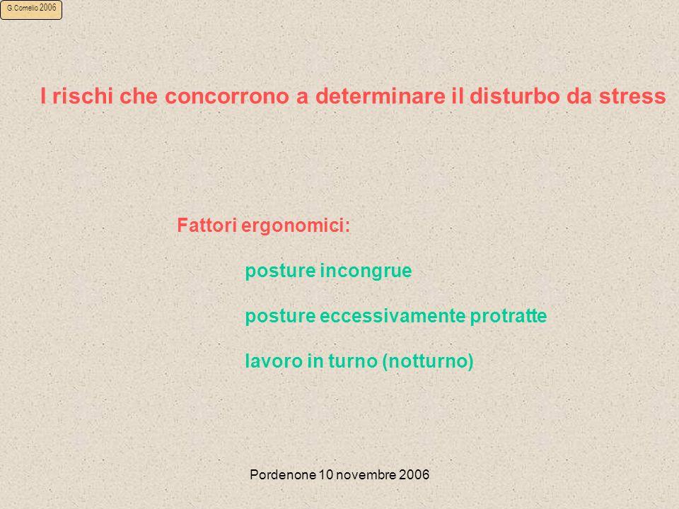 Pordenone 10 novembre 2006 G.Cornelio 2006 I rischi che concorrono a determinare il disturbo da stress Fattori ergonomici: posture incongrue posture eccessivamente protratte lavoro in turno (notturno)