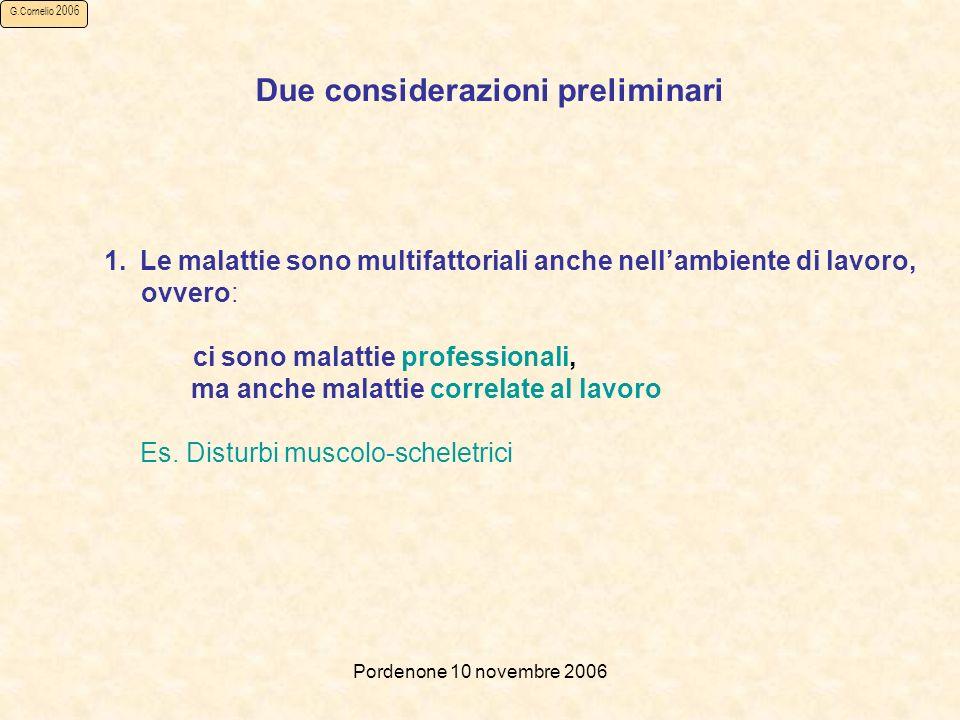 Pordenone 10 novembre 2006 G.Cornelio 2006 Due considerazioni preliminari 1.Le malattie sono multifattoriali anche nellambiente di lavoro, ovvero: ci sono malattie professionali, ma anche malattie correlate al lavoro Es.