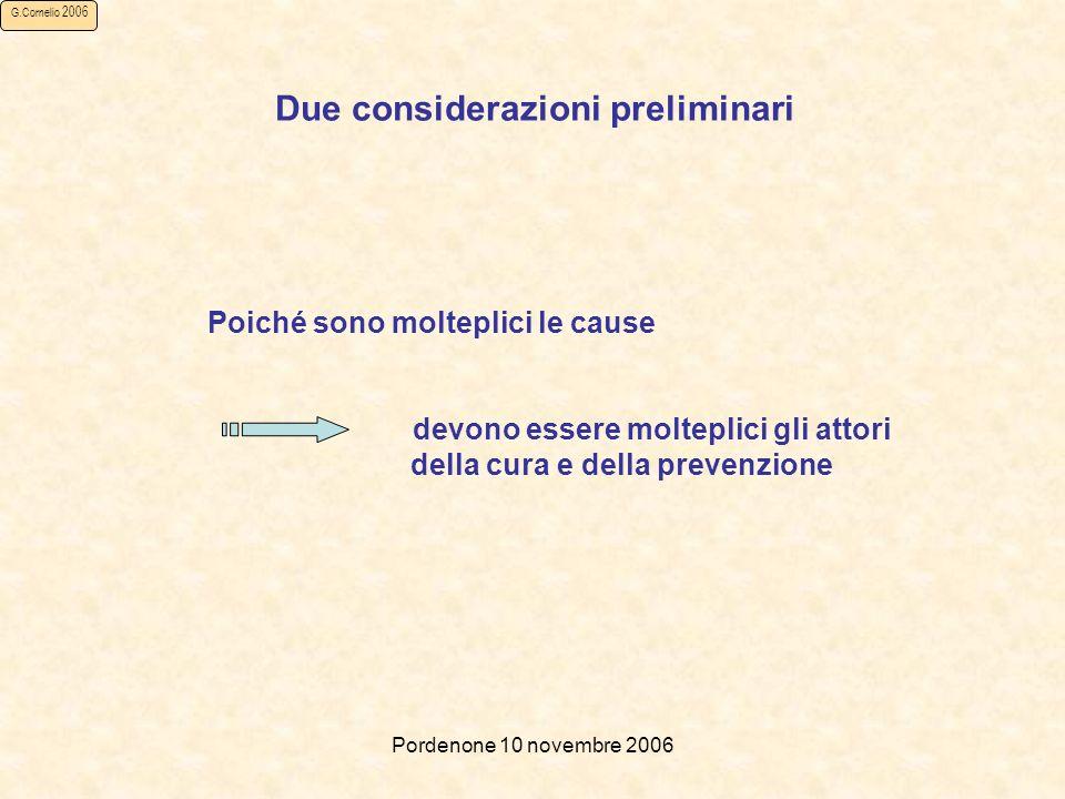 Pordenone 10 novembre 2006 G.Cornelio 2006 Poiché sono molteplici le cause devono essere molteplici gli attori della cura e della prevenzione Due considerazioni preliminari