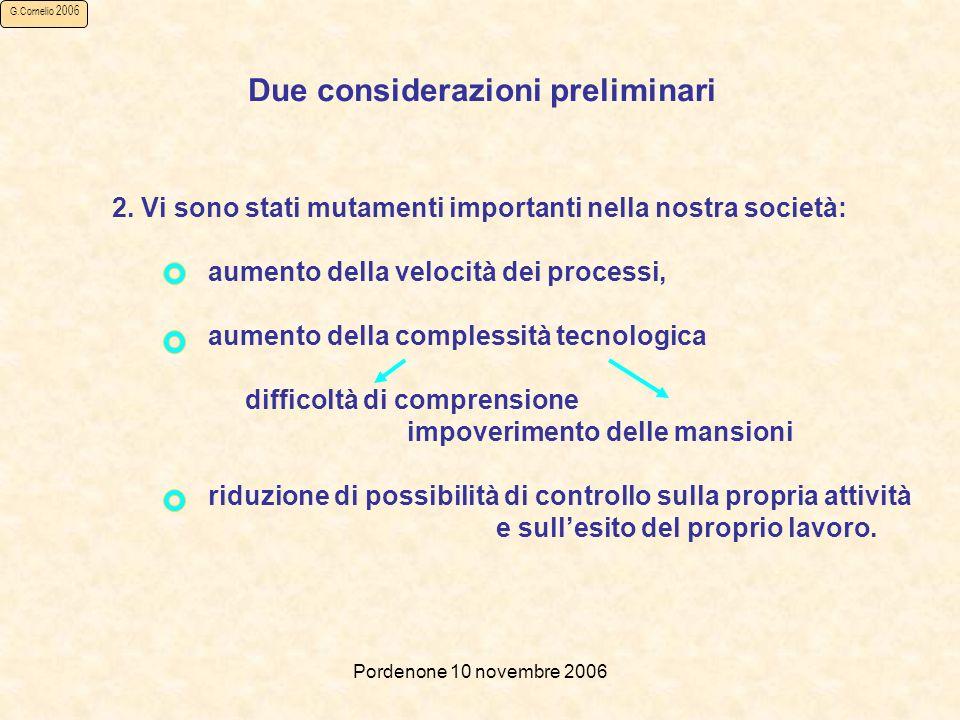 Pordenone 10 novembre 2006 G.Cornelio 2006 Due considerazioni preliminari 2.