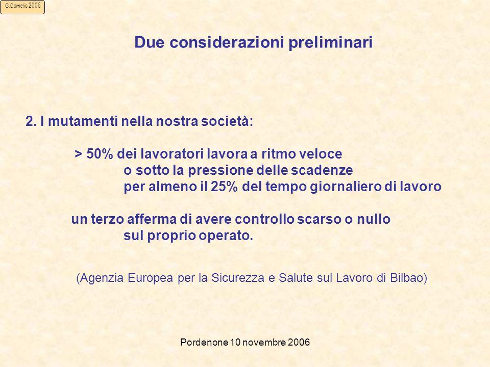 Pordenone 10 novembre 2006 G.Cornelio 2006 (Agenzia Europea per la Sicurezza e Salute sul Lavoro di Bilbao) Due considerazioni preliminari 2.