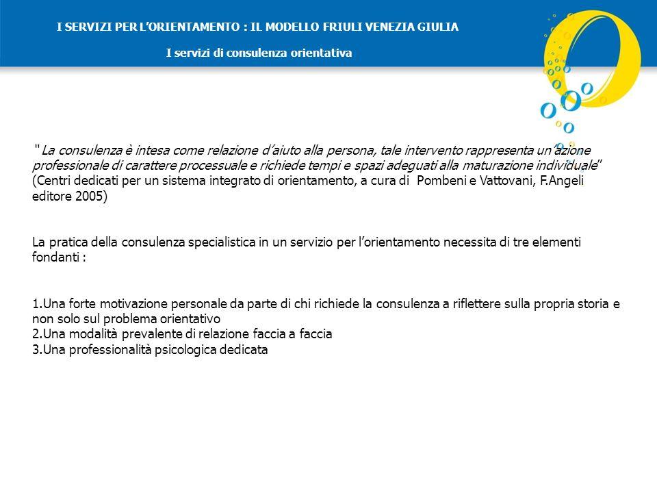 I SERVIZI PER LORIENTAMENTO : IL MODELLO FRIULI VENEZIA GIULIA I servizi di consulenza orientativa Quattro tipologie di intervento : 1.