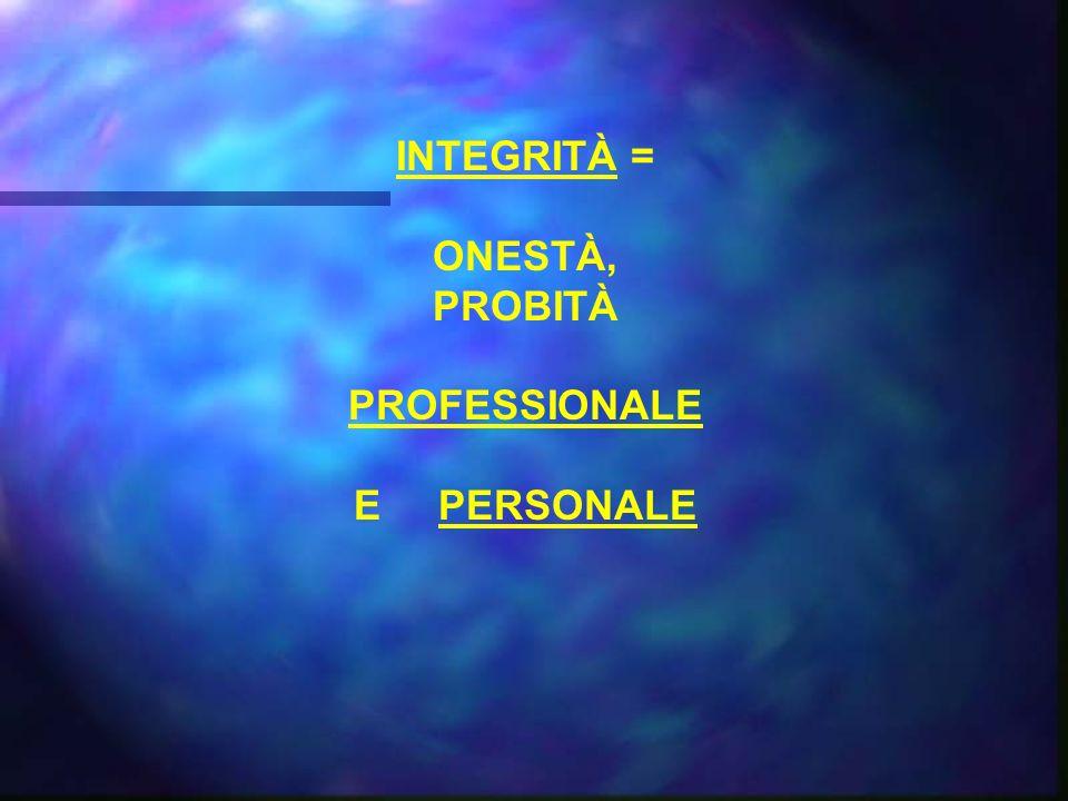 INTEGRITÀ = ONESTÀ, PROBITÀ PROFESSIONALE E PERSONALE