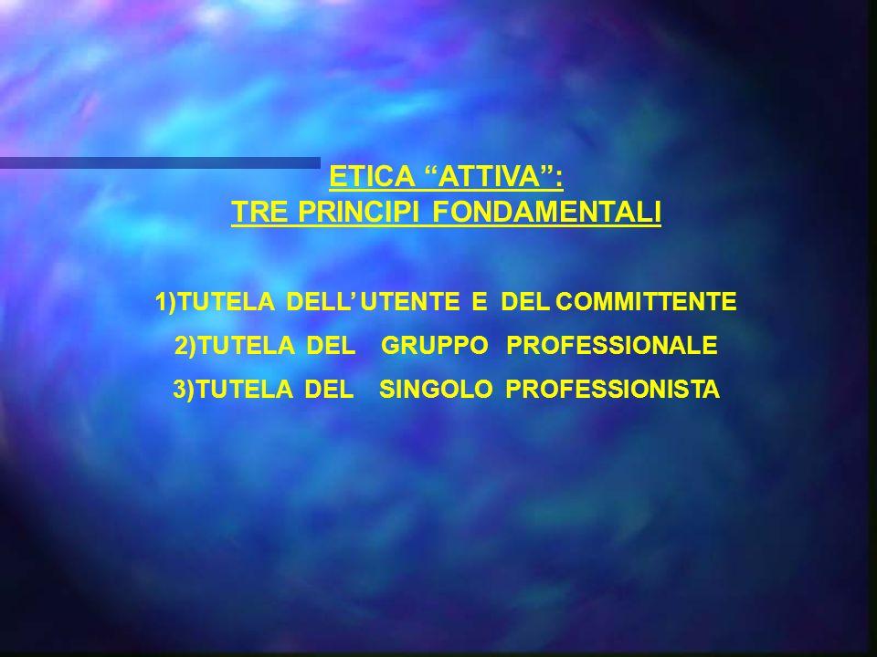 ETICA ATTIVA: TRE PRINCIPI FONDAMENTALI 1)TUTELA DELL UTENTE E DEL COMMITTENTE 2)TUTELA DEL GRUPPO PROFESSIONALE 3)TUTELA DEL SINGOLO PROFESSIONISTA