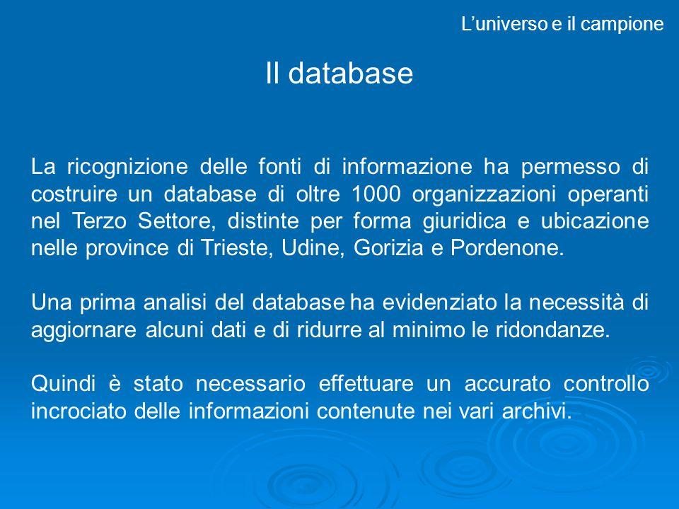 Il database Luniverso e il campione La ricognizione delle fonti di informazione ha permesso di costruire un database di oltre 1000 organizzazioni operanti nel Terzo Settore, distinte per forma giuridica e ubicazione nelle province di Trieste, Udine, Gorizia e Pordenone.