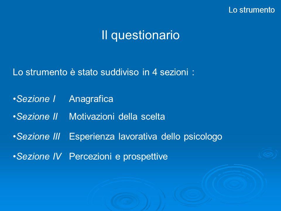Il questionario Lo strumento Lo strumento è stato suddiviso in 4 sezioni : Sezione II Motivazioni della scelta Sezione III Esperienza lavorativa dello psicologo Sezione IV Percezioni e prospettive Sezione I Anagrafica