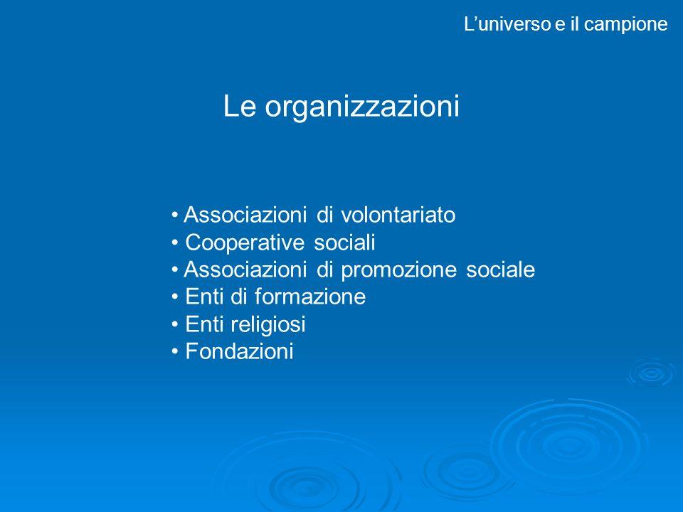 Associazioni di volontariato Cooperative sociali Associazioni di promozione sociale Enti di formazione Enti religiosi Fondazioni Luniverso e il campione Le organizzazioni