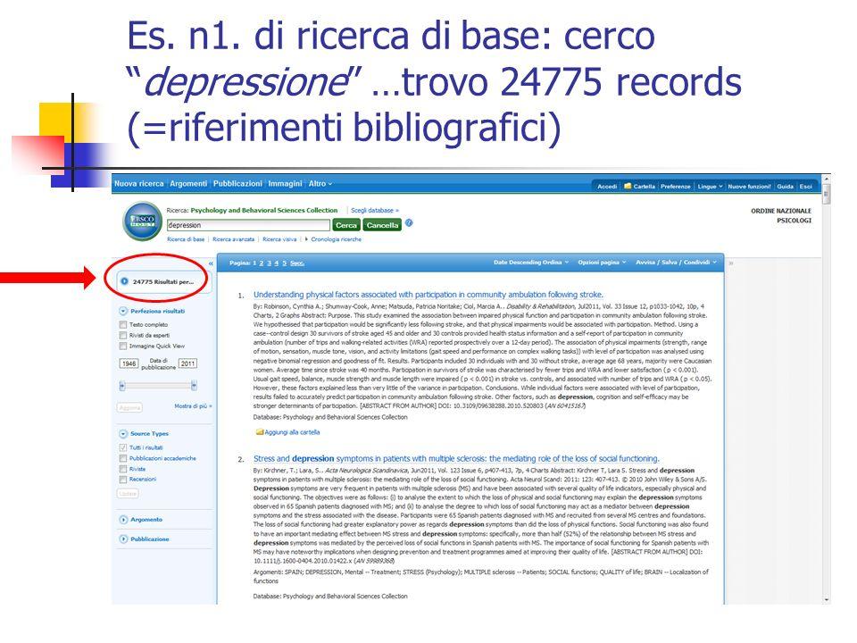 Es. n1. di ricerca di base: cercodepressione …trovo 24775 records (=riferimenti bibliografici)