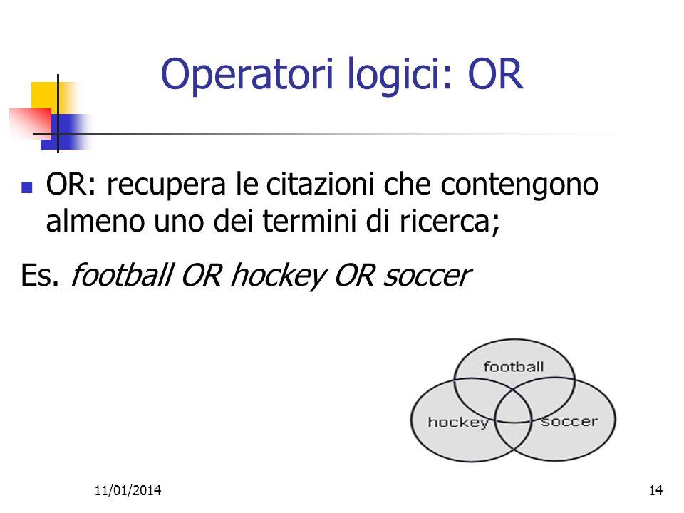 11/01/201414 Operatori logici: OR OR: recupera le citazioni che contengono almeno uno dei termini di ricerca; Es. football OR hockey OR soccer