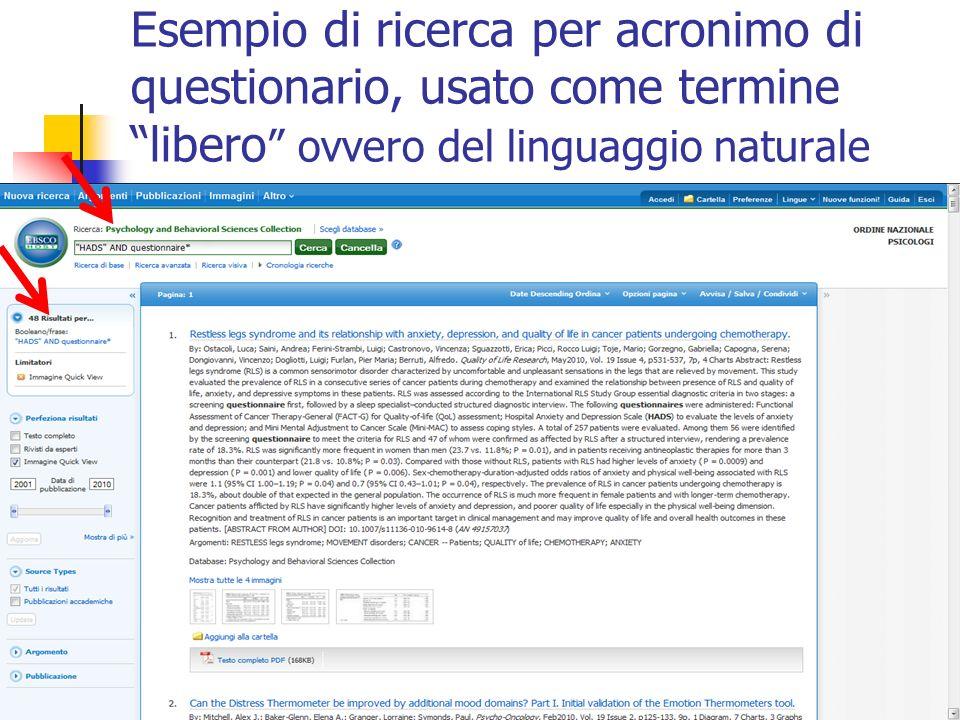 Esempio di ricerca per acronimo di questionario, usato come termine libero ovvero del linguaggio naturale