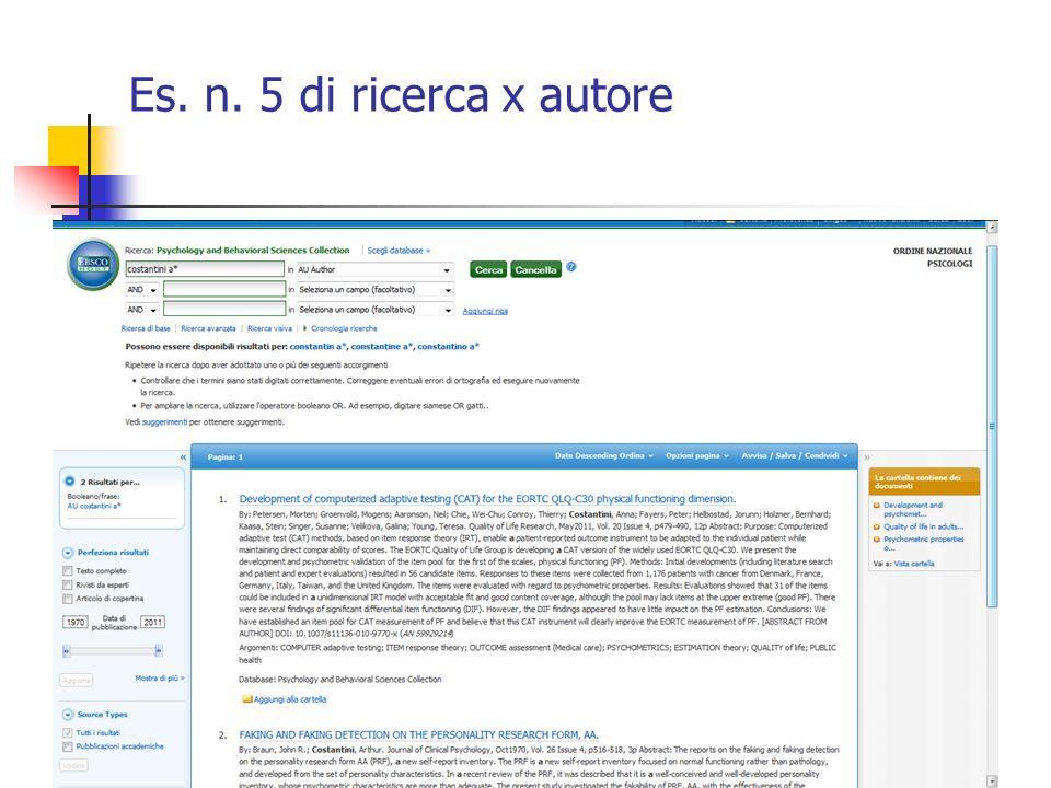 Es. n. 5 di ricerca x autore